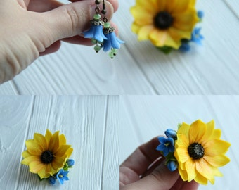 sunflower jewellery, flower earrings, cold porcelain, wedding stuff, bride sunflower, sunflower hair, yellow headband, blue flower, lilac