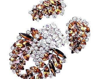 Austrian Cognac and Ice Brooch With Clip Earrings Set