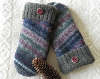 Fair Isle Sweater Wool Mittens in Navy Blue, Burgundy and Moss Green, Eco-Friendly Lined Felted Wool Mittens