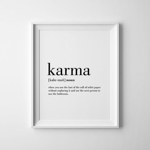 Karma definition print karma printable bathroom wall decor for Decor definition