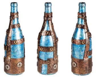 """11"""" Steampunk Oil Lamp Bottle - Blue/Silver"""