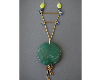Large green contrasting amazonite medallion bib necklace w/ yellow, blue, black and white stones and vintage metals