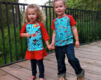 Rival Raglan Top, Tunic and Dress PDF Pattern:  Sizes 12 month to 12 years
