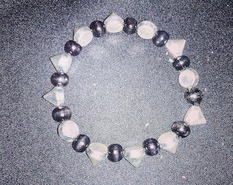 Black & Silver Spiked Beaded Bracelet