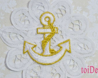 Anchor Iron On Applique - Gold White - Embroidered - Nautical