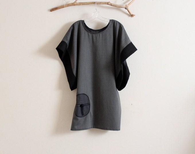 over size gray herringbone wool kimono wide sleeve tunic with round pocket
