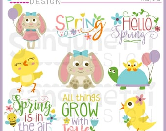 Easter clipart, spring clipart, bunny clipart, chick clipart, spring lettering, Instant download
