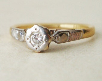 20% OFF SALE Vintage 1960's Diamond Solitaire Engagement Ring, 18k Gold Diamond Ring, Approx. Size US 5.5