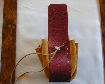 Leather medieval style pouch.
