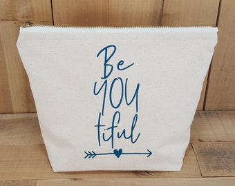BeYOUtiful Makeup Bag, Inspirational Womens Gift, Best Friend Gift, Gift for Her, Teen Makeup Bag, Cosmetic Bag, Pencil Case, Birthday, Gift