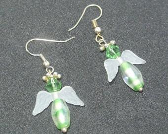 Guardian Angel Earrings.  Striped green. Handmade in UK