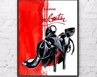 Christian louboutin print louboutin  painting louboutin shoes illustration louboutin shoes watercolor fashion illustration fashion painting
