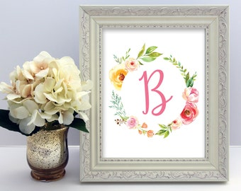 Baby Name Art, Initial and Monogram Art, Letter B, Floral Watercolor, Printable Nursery Wall Art, Personalized Baby Gift, Baby Shower Gift
