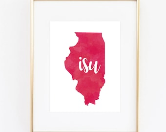 Illinois State University Redbirds Watercolor State Printable (8x10)