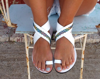 Bohemian Leather Sandals, in Six Colors. Thalia