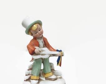 Vintage German Boy Figurine - Top Hat & Guitar - Germany 20467