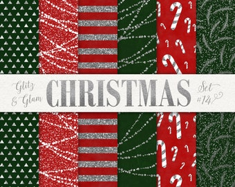 Silver Glitter Christmas Paper / Geometric Christmas Digital Paper / Candy Cane Digital Paper / Red and Green Christmas / Christmas Trees