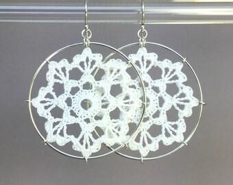 Scallops doily earrings, white silk thread, sterling silver
