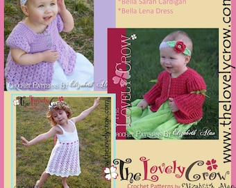 Girls Crochet Pattern Cardigan Dress BELLA BUNDLE