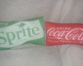 coca cola / sprite t shirt pillow
