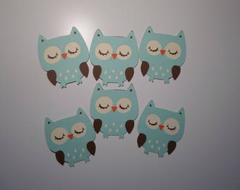 Paper Owls, die cut owls, owls, cupcake toppers, teal owls, baby shower owls, owls party theme