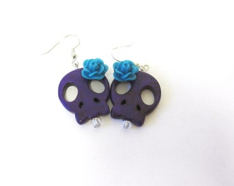 Purple Day Of The Dead Earrings Sugar Skull Jewelry