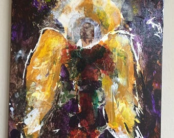 "Art, Original Mixed Media Painting, Acrylic and Collage, Titled Angels Among Us #3, 8"" x 10"""