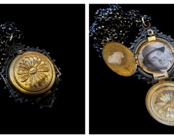 Gunmetal and Gold - Unisex 4 Picture Locket Necklace