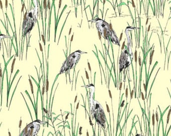 Fat Quarter Herons Bullrushes 100% Cotton Quilting Fabric Birds Wildlife Yellow