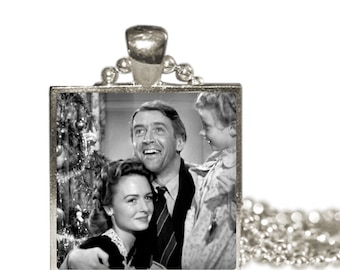 It's a Wonderful Life Jimmy Stewart Christmas Movie Altered Art Glass Pendant Charm Necklace