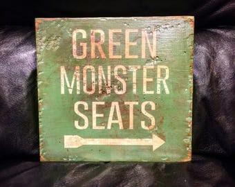 Green Monster Seats | Boston Red Sox | Fenway Park | Baseball Sign | Handmade | Boys Decor | Man Cave | Boston Art