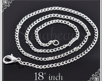 Bulk Buy 12 Silver Plated Curb Chains - Finished Necklaces 18 inch SB02