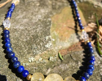 Rutilated Quartz and Lapis Necklace