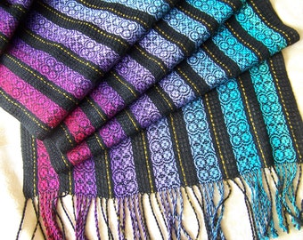Handwoven Lace Overshot Shawl Scarf Wrap Stole hand woven