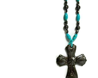 Turquoise Necklace, Haitian Milagro Pendant, Pyrite, Genuine Turquoise, Rustic, Southwest, Cowgirl, Haiti Relief Fund, Turquoise Jewelry
