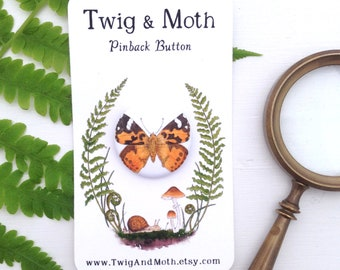 Painted Lady Butterfly Pinback Button - 1 inch Pin-back Badge