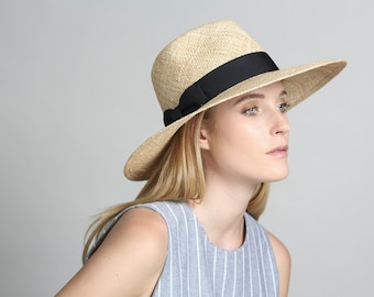 Wide Brimmed Hat , Wide Brim Straw Hat  , Fedora Hat  , Womens Straw Fedora Hat , Fedora Summer Hat , Wide Brim Hat