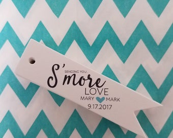 S'more Love Flag Wedding Favor Tags - White Personalized Tags PT002