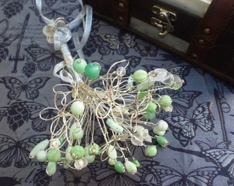 Alternative Bouquet: Created using Czech Preciosa glass beads and silver plated wire flowers
