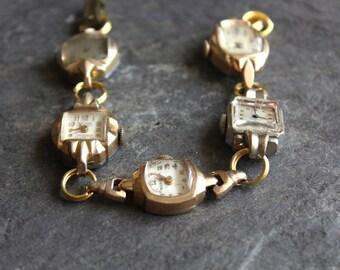 Watch of Vintage watches, ladies, antique, vintage, assemblage, up cycled, jewelry, bracelet, steampunk timepiece working conversation piece