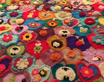 Crochet afghan , weighted blanket, hearts and appliqués , rainbow colours , wool, granny squares