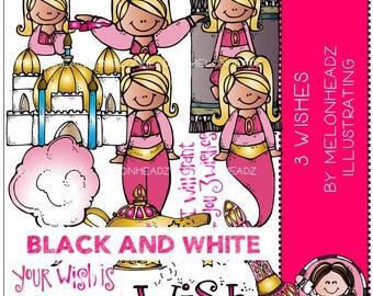 Genie clip art - Three Wishes - BLACK AND WHITE