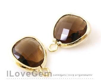 P1750 Gold plated, Smoky quartz, Glass fancy rosecut 12.5mm, Glass pendant, Framed glass, 2pcs