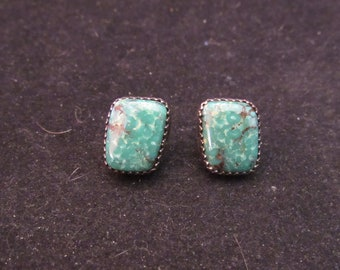 Wonderful Native Southwest Style Sterling Silver Turquoise Earrings