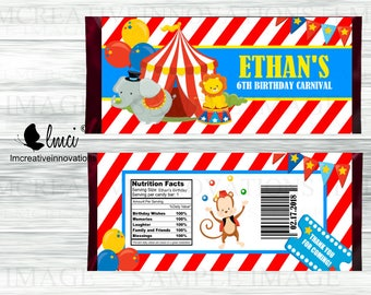 Carnival Candy Bar Wrappers, Circus Candy Bar Wrappers, Party Favors - Digital File or Printed