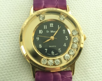 St Marin Purple Leather Watch with Floating Rhinestones