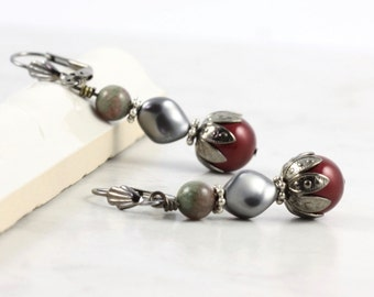 Burgundy Wedding Jewelry Deep Red Smoke Gray Pearl Earrings Winterberry Kashgar Garnet Gemstone Oxblood Jewelry Gunmetal Mothers Day Jewelry
