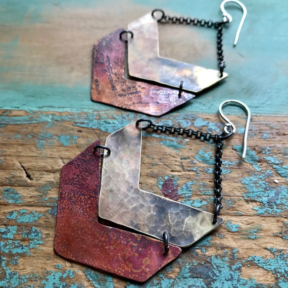 Wide Mixed Metal Double Chevron Earrings
