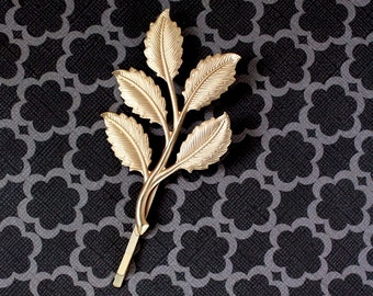 LAST CHANCE Gold Leaf Bobby Pin HairClip (1 clip) Greek Goddess Grape leaves Clips,Vintage Gold color Aphrodite style for wedding updos