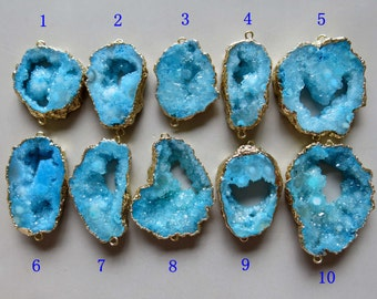 Druzy Geode Pendant with Electroplating Gold Edge Double Bail Connector Link B1435